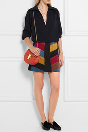 Chevron patchwork suede mini skirt