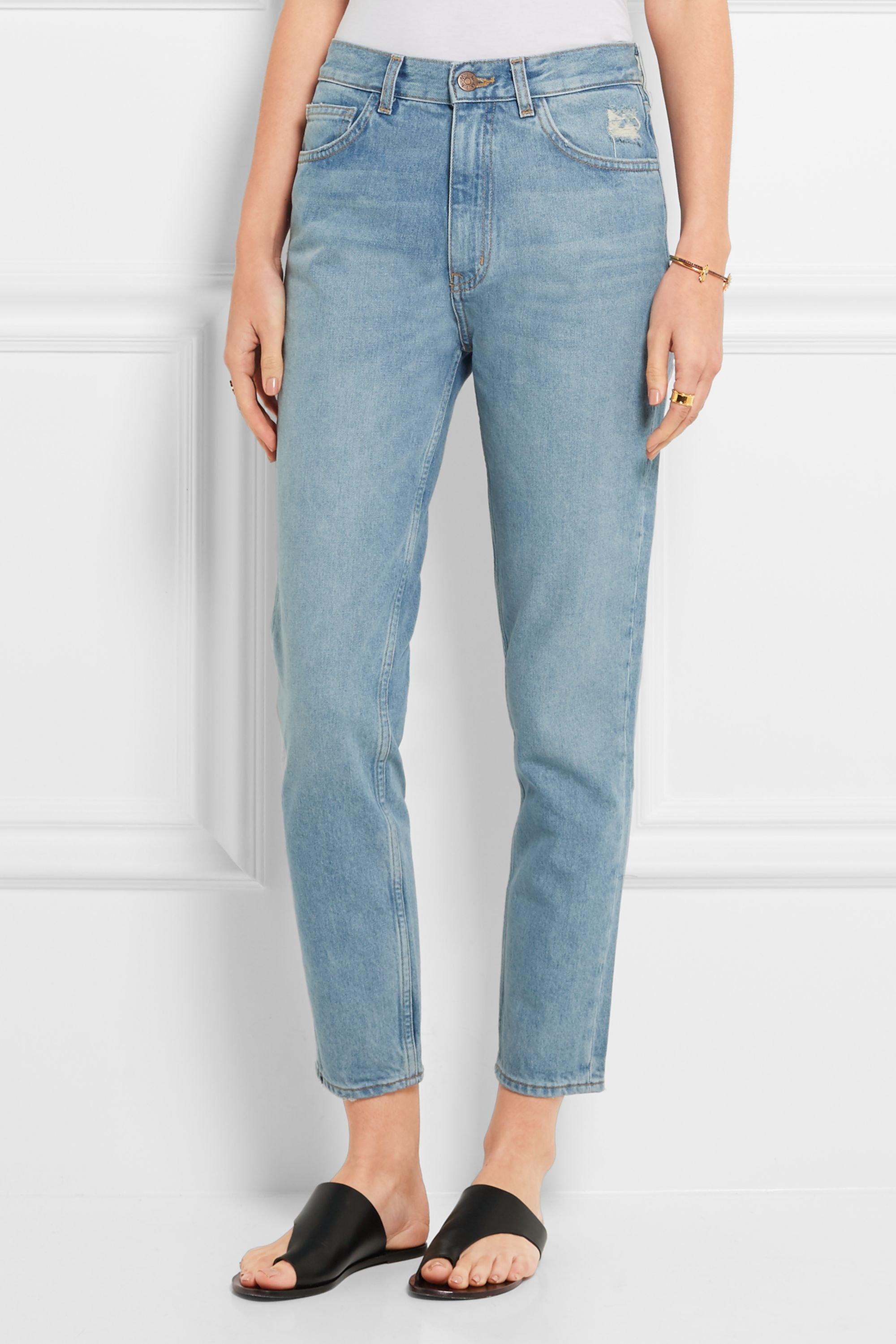 M.i.h Jeans Mimi distressed high-rise slim-leg jeans