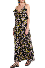 Ruffled floral-print silk-satin maxi dress
