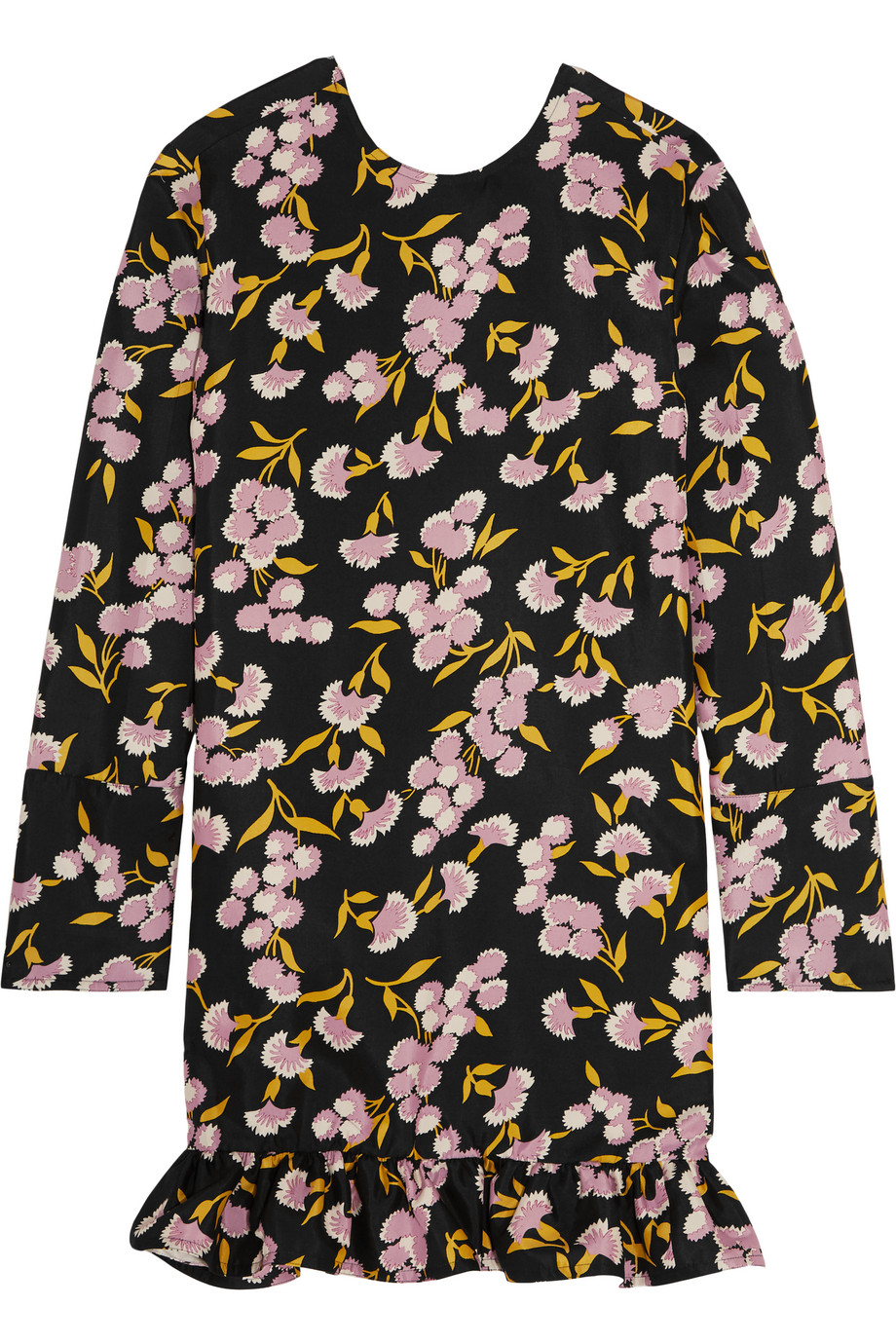 Marni Ruffled Floral-Print Cotton and Silk-Blend Mini Dress, Black/Pink, Women's - Floral, Size: 40