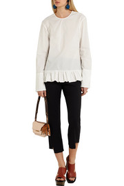 Ruffled cotton-poplin top