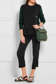 Two-tone wool-blend crepe and jersey peplum top