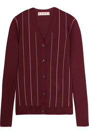 Marni Embroidered striped silk-blend cardigan