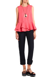 Cotton-poplin peplum top