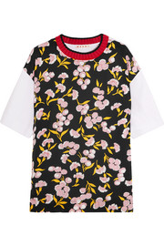 Wool-trimmed floral-print silk and cotton-jersey T-shirt