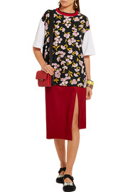 Marni Wool-trimmed floral-print silk and cotton-jersey T-shirt