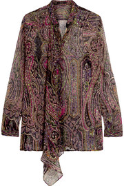Draped paisley-print devoré silk-blend blouse