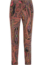 Printed wool-twill slim-leg pants