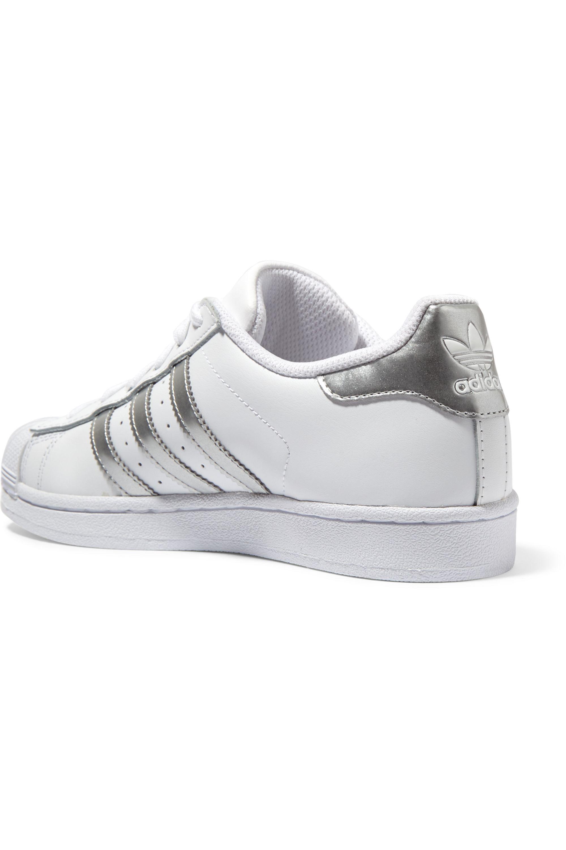 adidas Originals Superstar metallic-trimmed leather sneakers