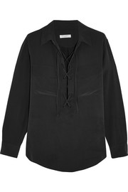 Knox lace-up washed-silk shirt