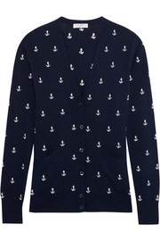 Sullivan anchor-embroidered knitted cardigan
