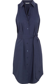Claudia belted cotton-poplin shirt dress