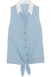 Equipment Mina tie-front cotton-chambray shirt