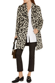 Burberry London Plaistow leopard-print llama hair and wool-blend trench coat