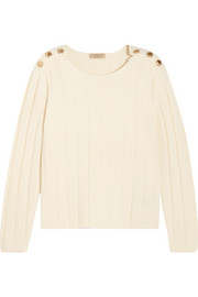 Burberry London Embellished ribbed wool and cashmere-blend sweater