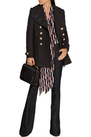Burberry Brit Leather-trimmed wool-blend coat