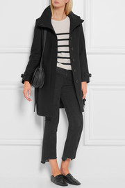 Burberry Brit Leather-trimmed wool-blend twill coat