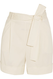Op-Art belted stretch-cady shorts