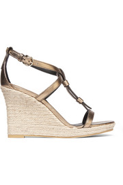 Burberry London London metallic leather espadrille wedge sandals