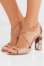 London metallic-trimmed leather sandals