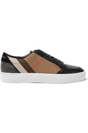 Burberry Studded leather and checked canvas sneakers
