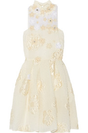 Fendi Floral-appliquéd embellished cloqué mini dress