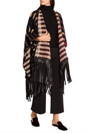 Fringed leather-trimmed striped camel hair-blend cape