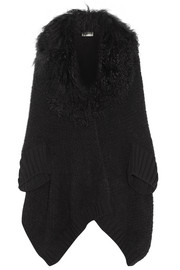 Fendi Shearling-trimmed wool-blend cardigan