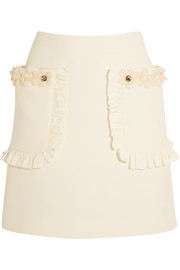 Fendi Embellished floral-appliquéd wool and silk-blend crepe mini skirt