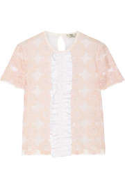 Fendi Ruffled embroidered tulle and silk-chiffon top