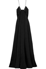 Chiffon-paneled silk-blend satin gown