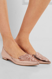 Sophia Webster Bibi Butterfly embroidered mirrored-leather point-toe flats