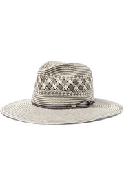 Leather-trimmed woven paper straw fedora
