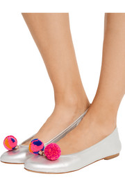 Sophia Webster Bo pompom-embellished metallic leather ballet flats