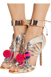 Sophia Webster Yasmina Pom Pom embellished mirrored-leather sandals