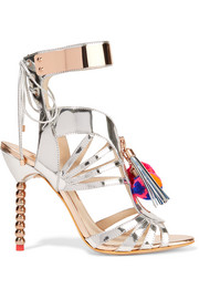 Yasmina Pom Pom embellished mirrored-leather sandals