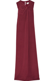 Twist-front crepe gown
