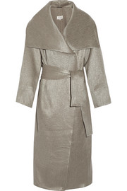 Oversized metallic wool-blend coat