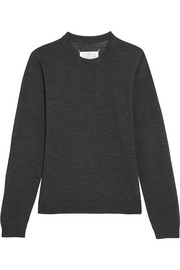 Maison Margiela Suede-paneled wool sweater