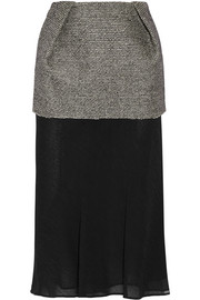 Maison Margiela Layered bonded tweed and chiffon midi skirt