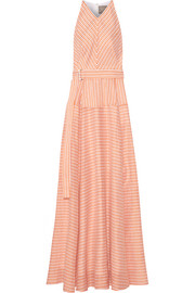 Lela Rose Striped cotton, linen and silk-blend gown