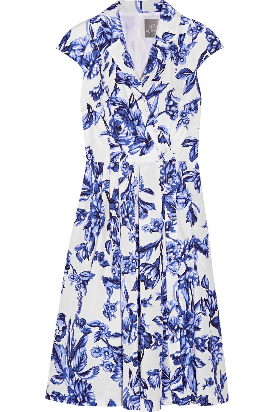 Lela Rose Jane Floral-Print Cotton-Poplin Dress, Size: 0