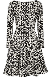 Lela Rose Stretch cotton-blend jacquard dress
