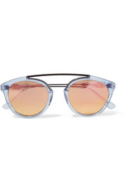 Flower 14 aviator-style acetate and metal mirrored sunglasses