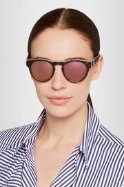Voyager 14 round-frame acetate mirrored sunglasses