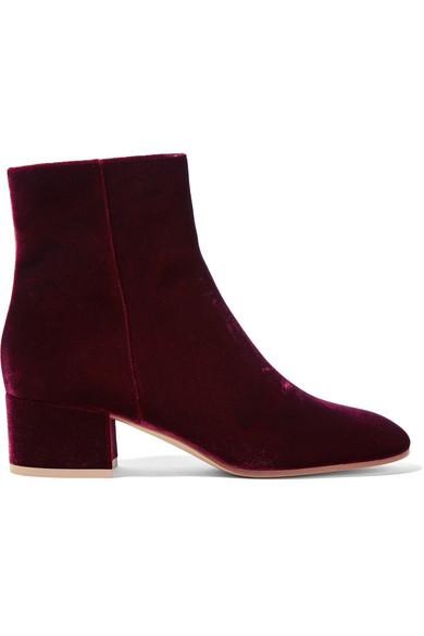 Gianvito Rossi - Velvet Ankle Boots - Burgundy