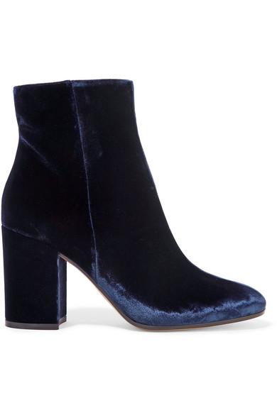 Gianvito Rossi - Velvet Ankle Boots - Midnight blue