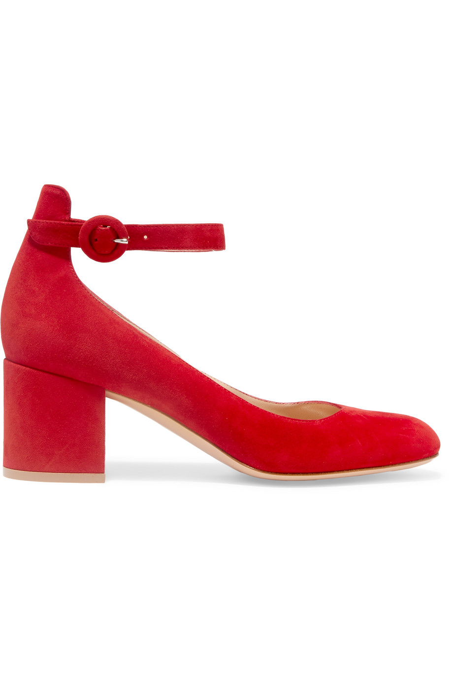 Gianvito Rossi Suede Pumps, Red, Women's US Size: 5, Size: 35.5