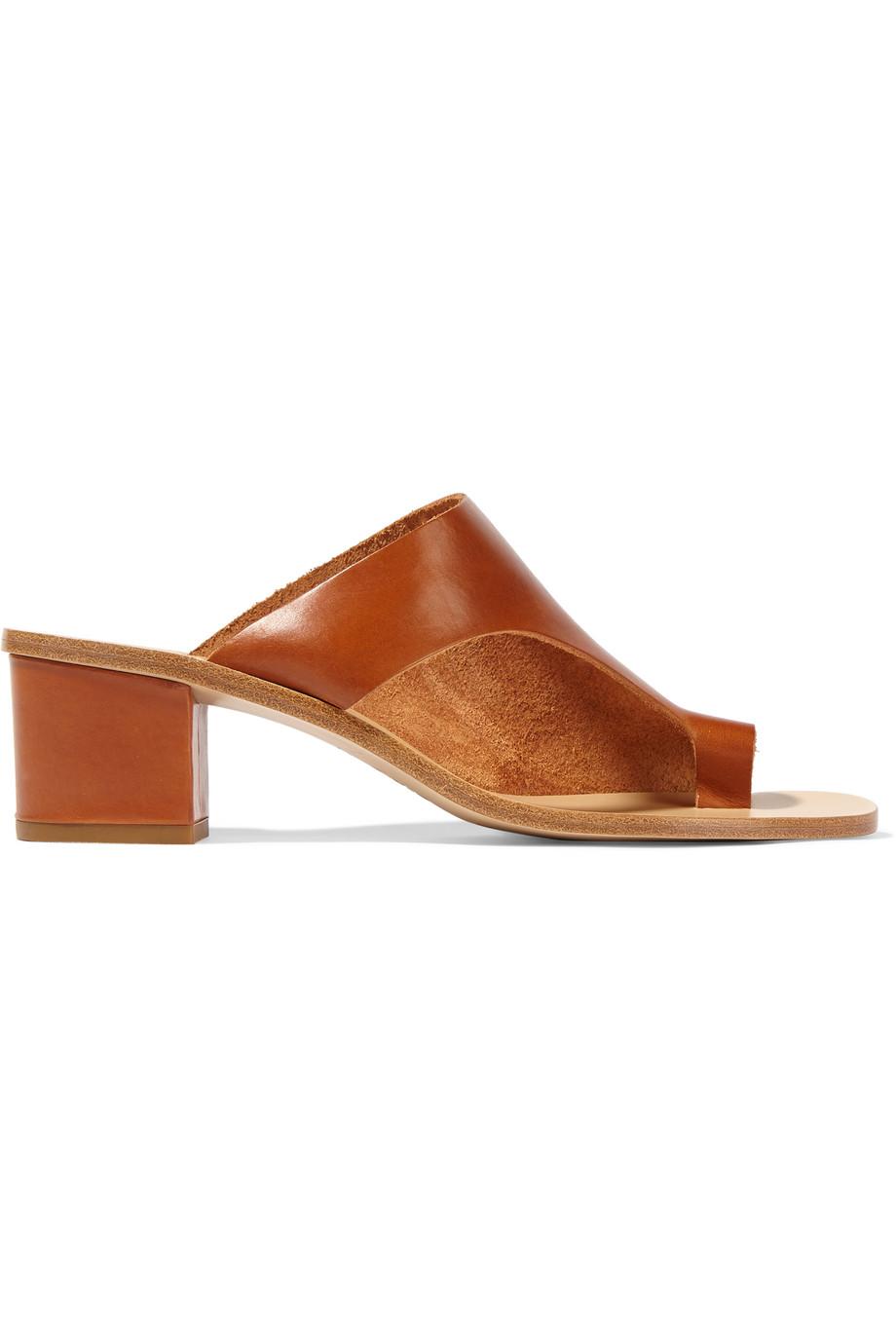 ATP Atelier Cyla Cutout Leather Sandals, Tan, Women's US Size: 9.5, Size: 40