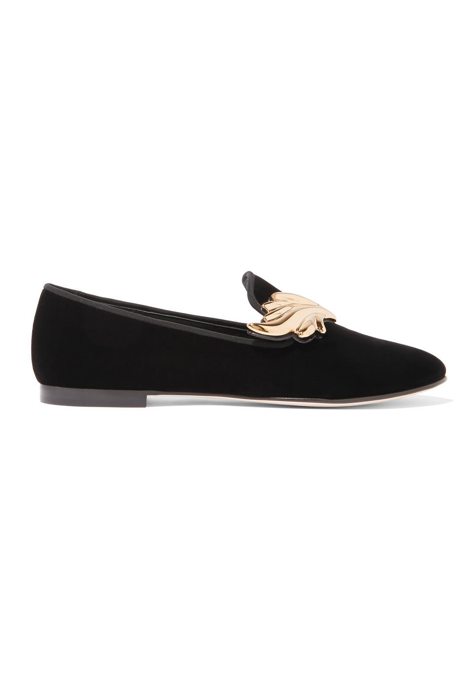 Giuseppe Zanotti Embellished Velvet Loafers, Black, Women's US Size: 6, Size: 36.5